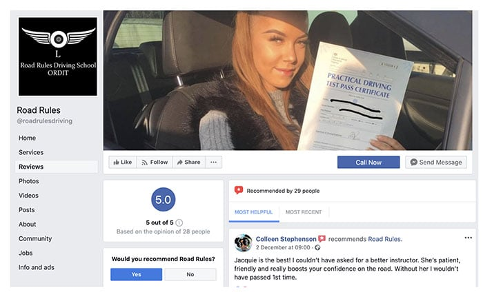 Road Rules Driving School on Facebook